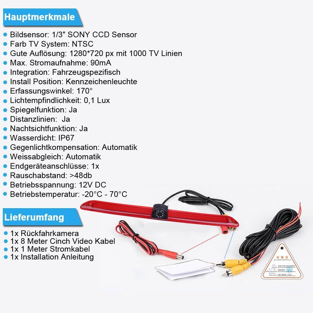 HD C/ámara de Marcha Atr/ás para Transporter Mercedes Benz Sprinter Viano Vito Transit Ducato VW Crafter Master 【Kit de c/ámara de visi/ón Trasera】Pantalla TFT LCD de 4.3/'/' Pulgadas Monitor de Coche