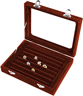 Double Lock Open Jewelry Box Small Jewelry Box Ring Earrings Nail Art Beauty Storage Box Jewelry Box (Color : Brown)