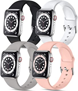 Muranne 4 Pack Sport Bands Compatible with Apple Watch 40mm 38mm iWatch SE & Series 6 & Series 5 4 3 2 1 for Women Men, Bl...