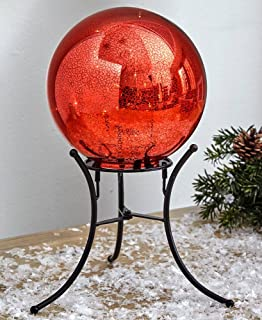 The Lakeside Collection Mercury Glass Lighted Gazing Ball with Stand & Timer - Red