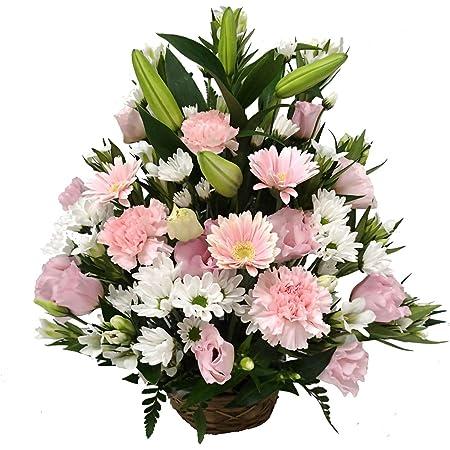 お供え お悔み 法要 四十九日 生花 フラワーアレンジメント ユリ 入り L サイズ 高さ45cm (白+ピンク系)