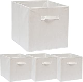 comprar comparacion DuneDesign Set de 4 Cajas de Almacenaje 33x38x33cm Cestas de Almacenamiento Plegables Cestos con 2 Asas de Tela Blanco