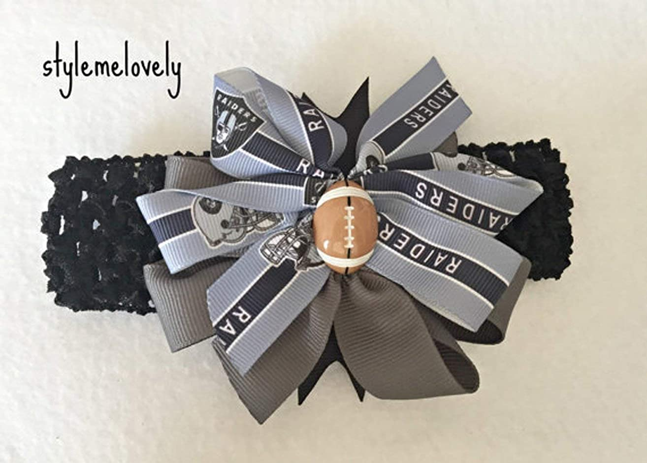 Oakland Raiders Baby Girl Boutique Bow Crocheted Headband, Fits Newborn- Adult