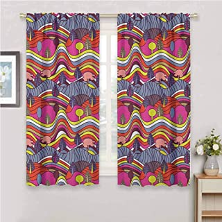 Grunge Blackout Curtain Set Cartoon Doodle Style Landscape Image Vibrant Color Palette Abstract Hills and Trees Kindergarten Shading Insulation W54 x L63 Inch Multicolor