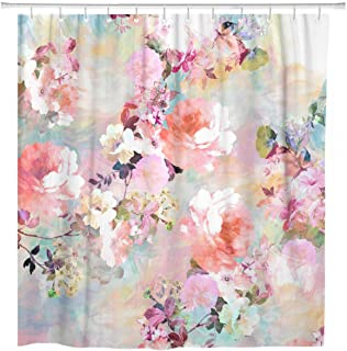 ArtSocket Shower Curtain Colorful Flowers Romantic Pink Teal Watercolor Chic Floral Pattern Home Bathroom Decor Polyester Fabric Waterproof 72 x 72 Inches Set with Hooks