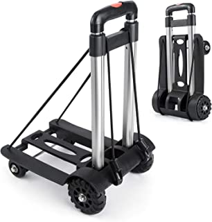 Portable Hand Trucks Luggage,155 lbs Capacity Heavy Duty Hand Cart with 4 Wheels and Adjustable Handle,Luggage Cart Dolly ...