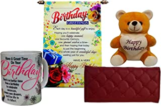 Saugat Traders Birthday Gift Set for Girls (Combo of Coffee Mug, Birthday Scroll Card, Teddy and Wallet)