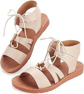 gracosy Sandales Bride Cheville Femmes, Chaussures Romaine en Cuir PU à Lacet Spartiates Plat Léger Original Plage Vacance...