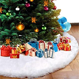 skyfiree 36 inch Faux Fur Christmas Tree Skirt Snowy White Plush Luxury Xmas Tree Skirt for Christmas Decoration Party and...