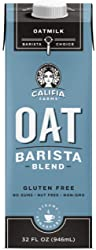 Califia Farms Unsweetened Oatmilk Barista Blend, 32 Oz | Whole Rolled Oats | Dairy Free | Gluten-Fre