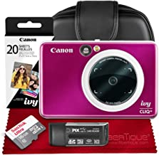 Canon Ivy CLIQ+ Instant Camera Printer (Ruby Red) + 30 Sheets Photo Paper + 16GB SD Card + Case + Premium Accessories Bundle (USA Warranty)