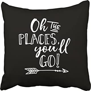 Capsceoll oh the places youll go black & white quote Decorative Throw Pillow Case 18X18Inch,Home Decoration Pillowcase Zippered Pillow Covers Cushion Cover with Words for Book Lover Worm Sofa Couch