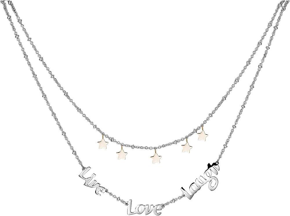 """Brosway collana per donna a due fili in acciaio 316l con scritta """"live love laugh"""" e stelline in pvd oro rosa BRP01"""