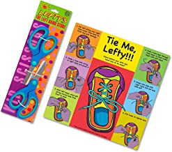 Teach a Child How to Tie Shoes Using Their Left Hand Instruction Card Plus Two Blue Left Handed Scissors for Kids - Blue