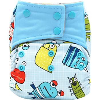 AIO Reusable Washable Cloth Diaper Nappy Charcoal Bamboo Insert Overnight 6PCS Diapers +1PC Wet Bag Group-A
