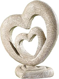 Collections Etc Heart-Shaped Hand-Painted Garden Sculpture, Outdoor Decorative Yard Accent