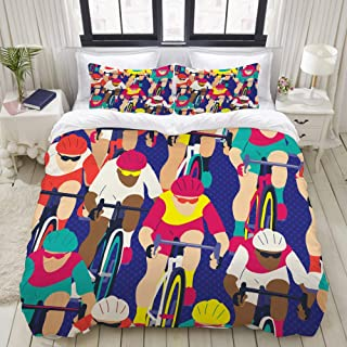 CANCAKA Duvet Cover Set, Group of Cyclist in The Bicycle Race, Custom 3 Piece Bedding Set with 2 Pillow Shams, Queen/Full Size