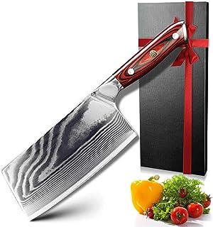 Feuille Couteaux de Damasque 67 Couteau de chèvre Couteau Japonais Couteau de cuisine Damas Couteaux en acier inoxydable U...