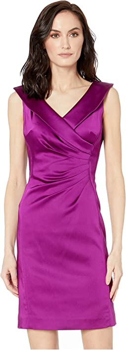 Stretch Satin Dress with Side Ruching and Portrait Neckline