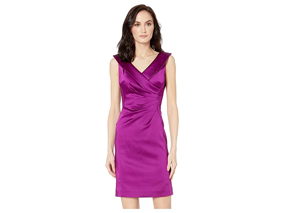 Tahari by ASL Stretch Satin Dress with Side Ruching and Portrait Neckline (Currant) Women