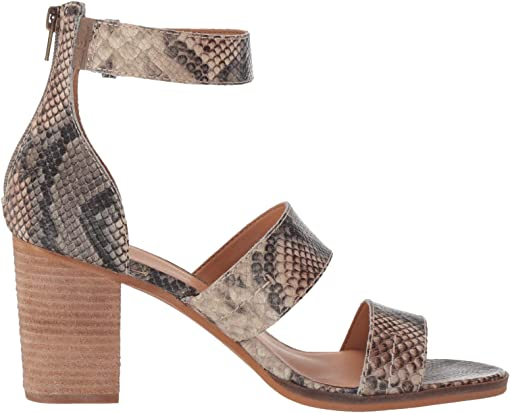 Taupe Snake Embossed Leather