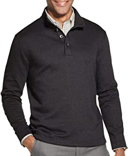 Men's Long Sleeve Never Tuck Jaspe Button Mock Pullover