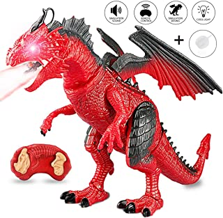 CALOVER Remote Control R/C Walking Dinosaur Pet Toy Animal for Red Dragon Figures Learning with Roaring Spraying Light Up Eyes for Birthday Xmas Gifts