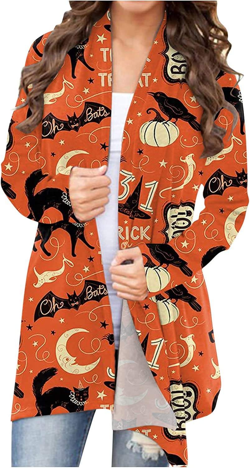 BABAKE Halloween Clothes for Women Plus Size,Women's Halloween Long Sleeve Open Front Cardigan Funny Cute Pumpkin Black Cat Ghost Lightweight Coat Plus Size Blouse