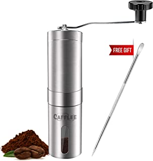 Manual Coffee Grinder - Premium Quality - Brushed Stainless Steel - Conical Ceramic Burr for Precision Brewing - Adjustable Settings - Portable -Bonus -Latte Art