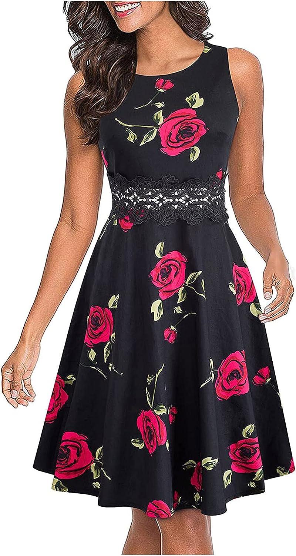 Summer Dresses for Women, Womens Summer Fashion Casual Cami Round Neck Sleeveless Slim Maxi Dresses Sundress