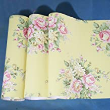SimpleLife4U Retro Peony Floral Contact Paper Yellow Peel & Stick Shelf Liner Dresser Drawer Sticker 17.7 Inch By 9.8 Feet
