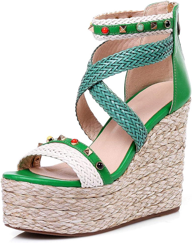 SaraIris Espadrille Wedges for Women High Heel Platform Sandals Bohemian Straw Sandals Casual Beach shoes