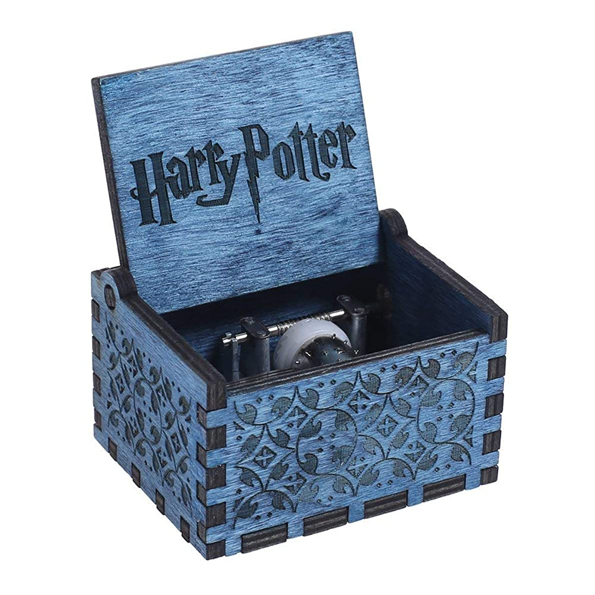 Dream Loom Wooden Music Box,Hand Crank Classical Carved Wooden Harry Potter Musical Box,Gift for Kids,Family and Friends (Blue)