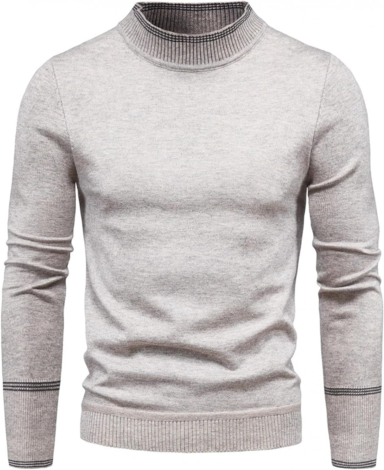 Burband Mens Cable Knit Stitch Thermal Sweaters Cotton Crewneck Slim Fit Basic Pullover Sweaters Knitted Cardigans