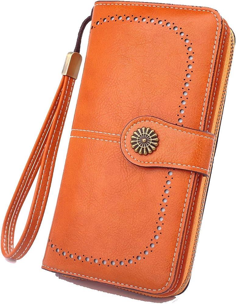 Y yongyuan portafoglio porta carte di credito per donna in ecopelle arancione1