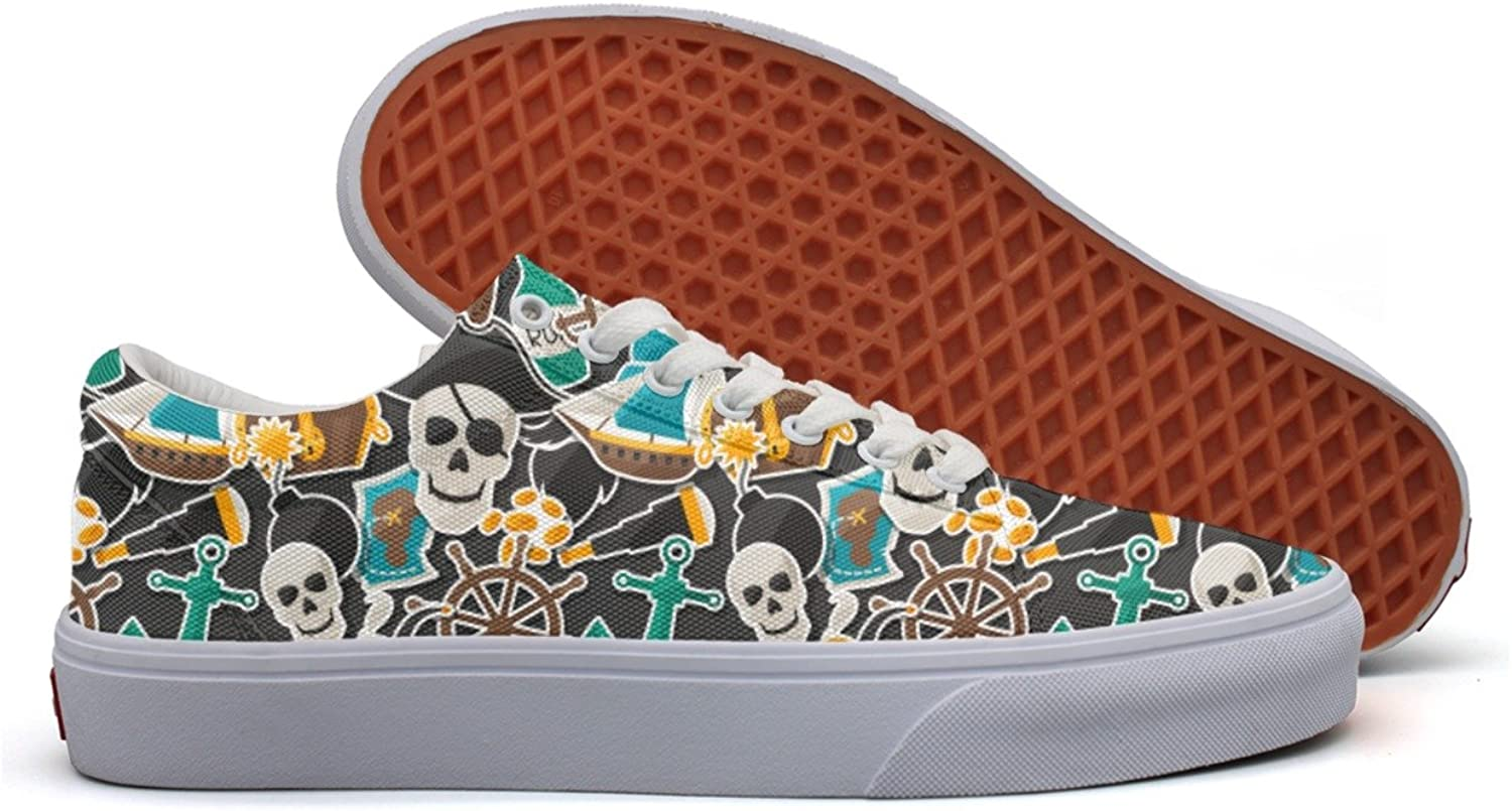 Charmarm Pirate Skulls Anchor Graphic Print Womens Fashion Low Top Canvas Slip-ons shoes