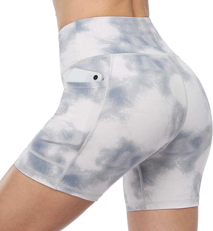 RAYPOSE Yoga Max 62% Houston Mall OFF Tie Dye Shorts for Print Workout Women Contro Tummy