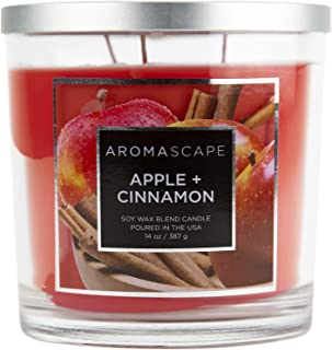 Aromascape 3-Wick Scented Jar Candle, Apple & Cinnamon