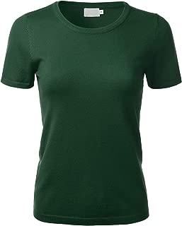 Women's Soft Basic Crew Neck Pullover Short Sleeve Knit Sweater (S-XL)