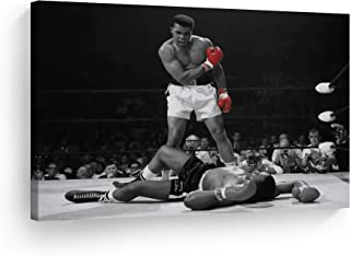 Smile Art Design A Famous Picture Muhammad Ali vs Sonny Liston Red Gloves Canvas Print First Minute First Round Knockout Art Wall Decor Artwork Ready to Hang%100 Made in The USA 8x12