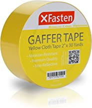 XFasten Professional Grade Gaffer Tape, 2 Inch x 30 Yards (Yellow), Colored Gaffer Floor Tape for Cables, Photography, Theater Stage Setup, and Interior Design