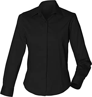 Henbury Womens/Ladies Long Sleeve Oxford Fitted Work Shirt