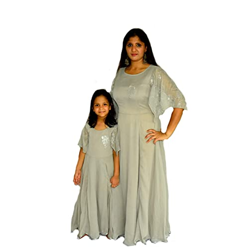 7922698154 GRAVIDANZA9 Grey Color Sequence Hand Work Women and Kids Similar Styles  Dresses