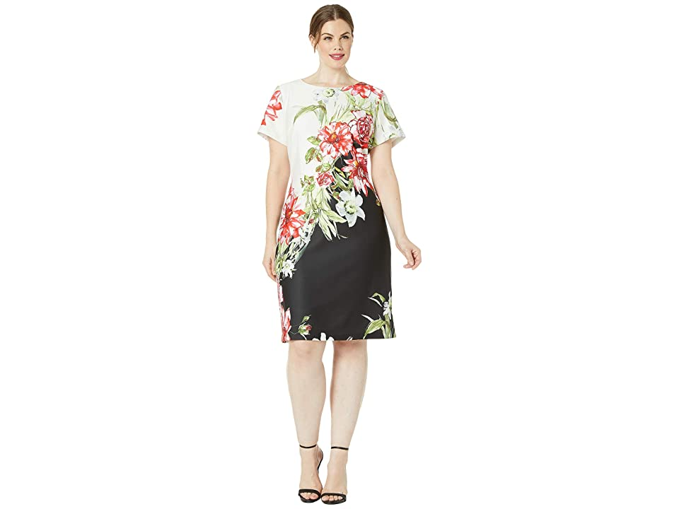 Adrianna Papell Plus Size Cap Sleeve Printed Scuba A-Line Dress (Black/Ivory Multi) Women