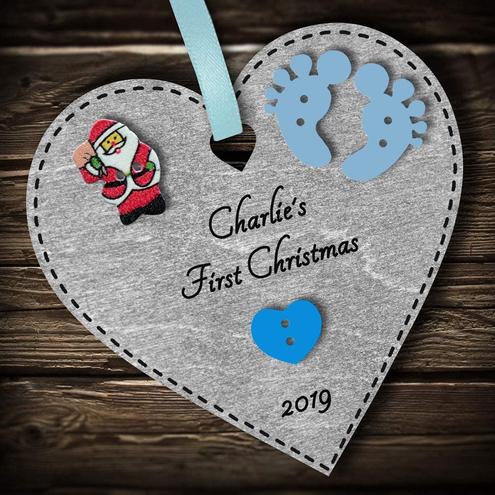 Multi-Colour Personalised Babys First 1st Christmas Bauble tree decoration wooden heart hanging ornament keepsake gift for boy or girl Blue #1