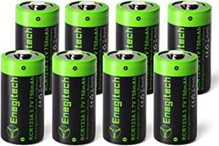 Arlo Batteries Rechargeable, Enegitech CR123A Lithium Batteries 3.7V 750mAh for Arlo Cameras (VMC3030 VMK3200 VMS3330 3430 3530) Flashlight Security System Weather Radio - 8 Pack