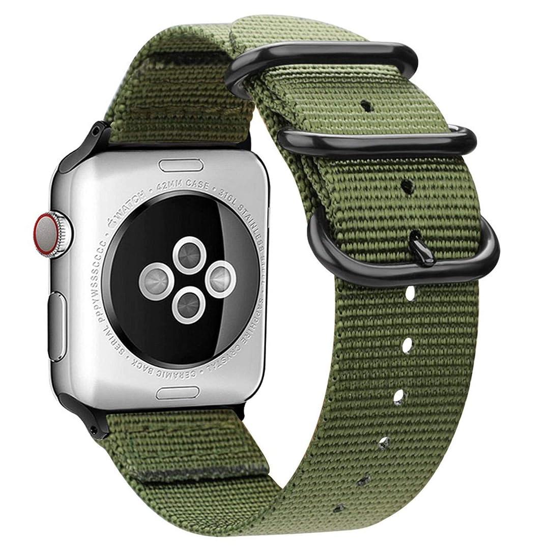 大統領納税者担保AIGENIU コンパチブル Apple Watch バンド、防水性と耐久性のある編みナイロン バンド Compatible forアップルウォッチ バンド 38mm 40mm 42mm 44mm iwatch Serise 4/3/2/1に対応 (38mm/40mm, アーミーグリーン)