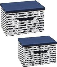 Valink Ozdobne pudełka z pokrywkami, pudełko do przechowywania na biurko składane pyłoszczelne zabawki ubrania szuflada pu...