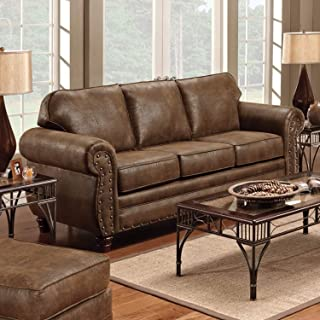 Sedona Sofa - Transitional/Country Brown Casual Country Rustic Transitional Solid Fabric Faux Leather Microfiber Nailheads