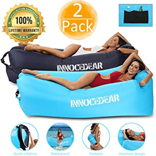 Innocedear 2 Pack Inflatable Lounger Air Sofa Hammock,Inflatable Couch Air Chair,Camping Accessories,Waterproof Anti-Air Leaking for Outdoor Backyard Beach Traveling Picnics & Music Festivals